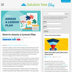 How to Assess a Lesson Plan