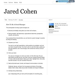 Jared Cohen: How To Be A Great Manager