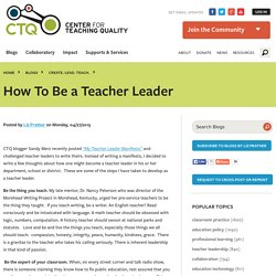 How To Be a Teacher Leader