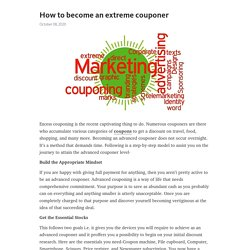 How to become an extreme couponer