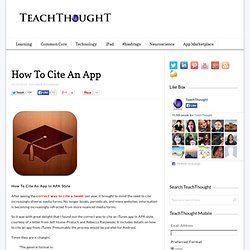 How To Cite An App