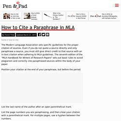 How to Cite a Paraphrase in MLA