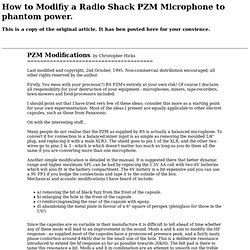 HOW TO CONVERT A RADIO SHACK PZM