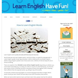 How to Learn English Words