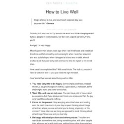 How to Live Well