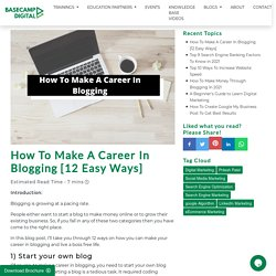 How To Make A Career In Blogging