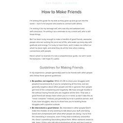 How to Make Friends : zen habits