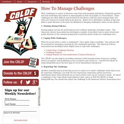 How To Manage Challenged Books
