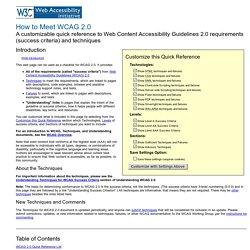 How to Meet WCAG 2.0