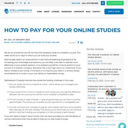 How to pay for your online studies