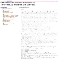 How To Plan, Organise and Control