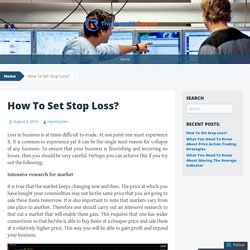 How To Set Stop Loss?