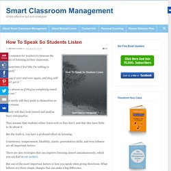 How To Speak So Students Listen