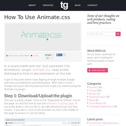 How To Use Animate.css