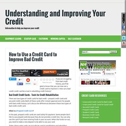 credit cards to improve bad credit