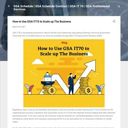 How to Use GSA IT70 to Scale up The Business