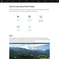 How to use QuickTime Player