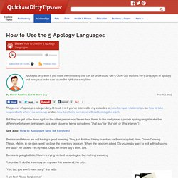 How to Use the 5 Apology Languages