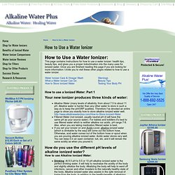 How to Use a Water Ionizer