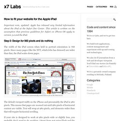How to fit your website for the Apple iPad « x7 Labs