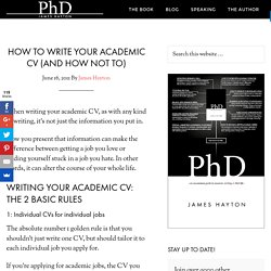 How to write your academic CV (and how not to)