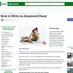 Argumentative Essay - How to Write an Argument Essay