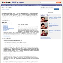 How to Write a Band Biography - Band Bio Guide