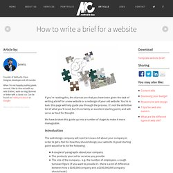 How to write a brief for a website