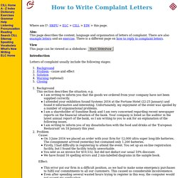 How to Write Complaint Letters