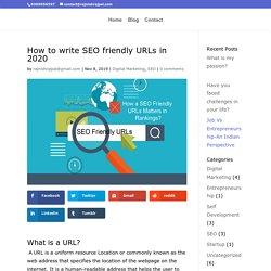 How to write SEO friendly URLs in 2020?