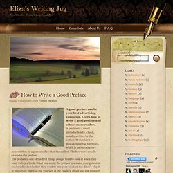 How to Write a Good Preface