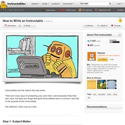 How to Write an Instructable