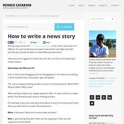 How to write news stories