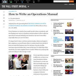 How to Write an Operations Manual