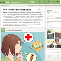 How to Write Personal Goals