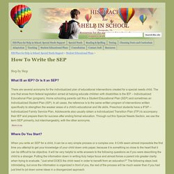 How To Write the SEP - HIS PLACE for Help In School
