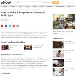 How to write a radio ad script