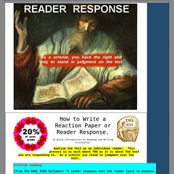 How to Write a Reader Response