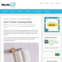 How To Write a Running Head - WordsRU