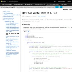 How to: Write Text to a File