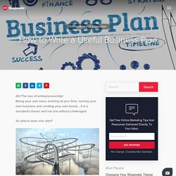 How to Write a Useful Business Plan