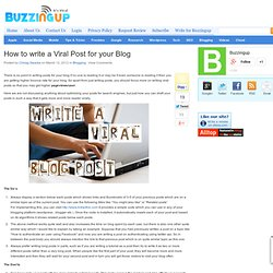 How to write a Viral Post for your Blog