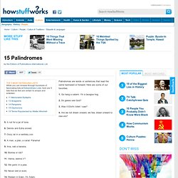 """15 Palindromes"""""""