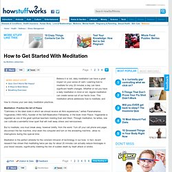 How to Get Started With Meditation""