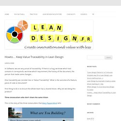 Howto… Keep Value Traceability in Lean Design