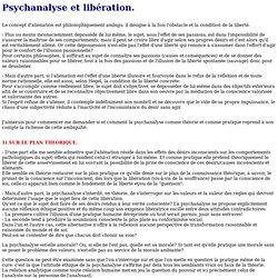 Psychanalyse et libération.