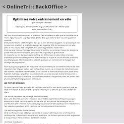 Optimisez votre entrainement en vélo - Triathlète 190 .:. OnlineTri.com