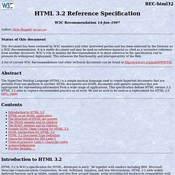 HTML 3.2 Reference Specification