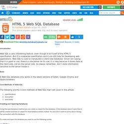 HTML 5 Web SQL Database
