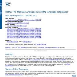 W3C HTML : balises